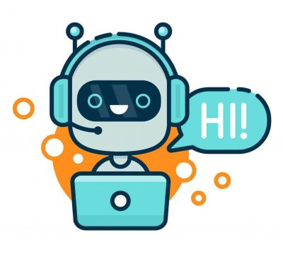 Cute smiling robot, chat bot say hi. Vector modern line outline flat style cartoon character illustration. Isolated on white background.Speak bubble. Voice support, virtual online help support concept